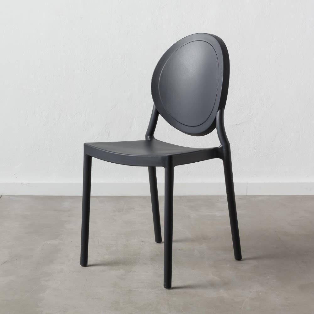Set 4 Oval Chair grigio scuro