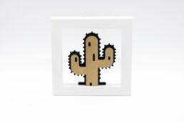Quadro legno e plex cactus