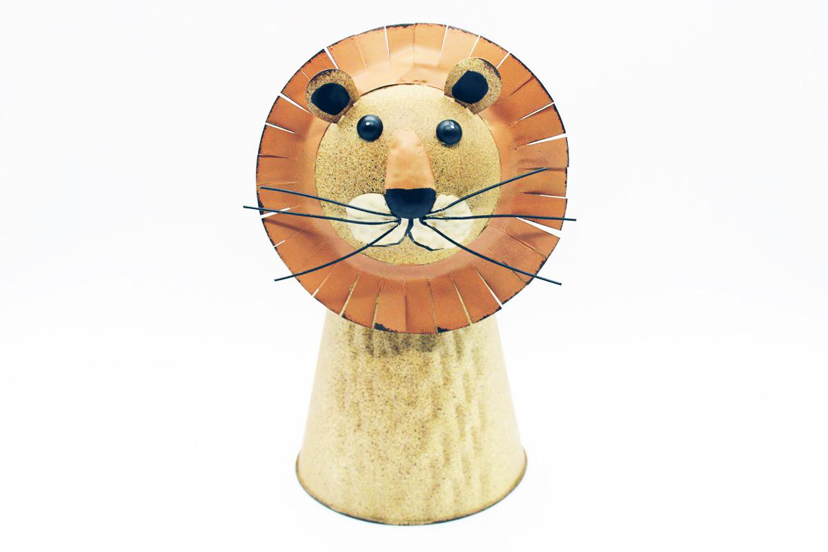 Vaso metallo leone
