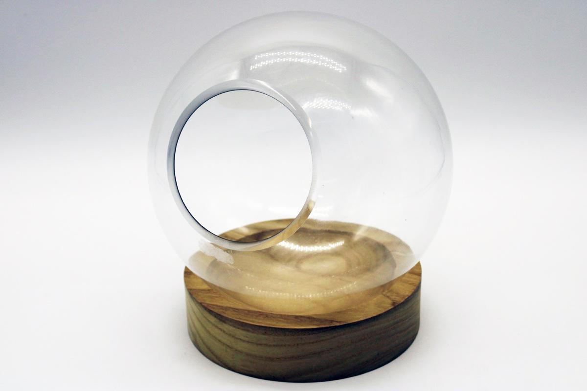 Boule in vetro con base in legno small