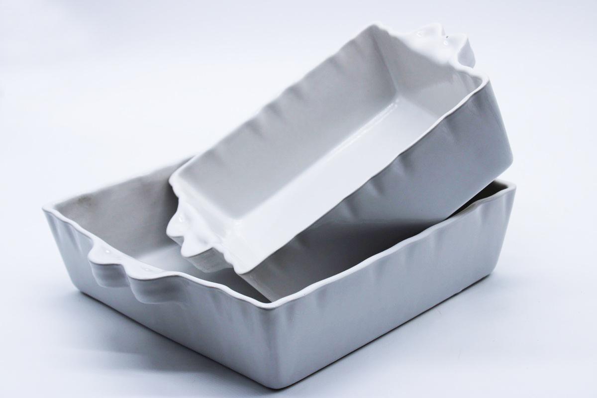 Teglia forno quadrata bianca