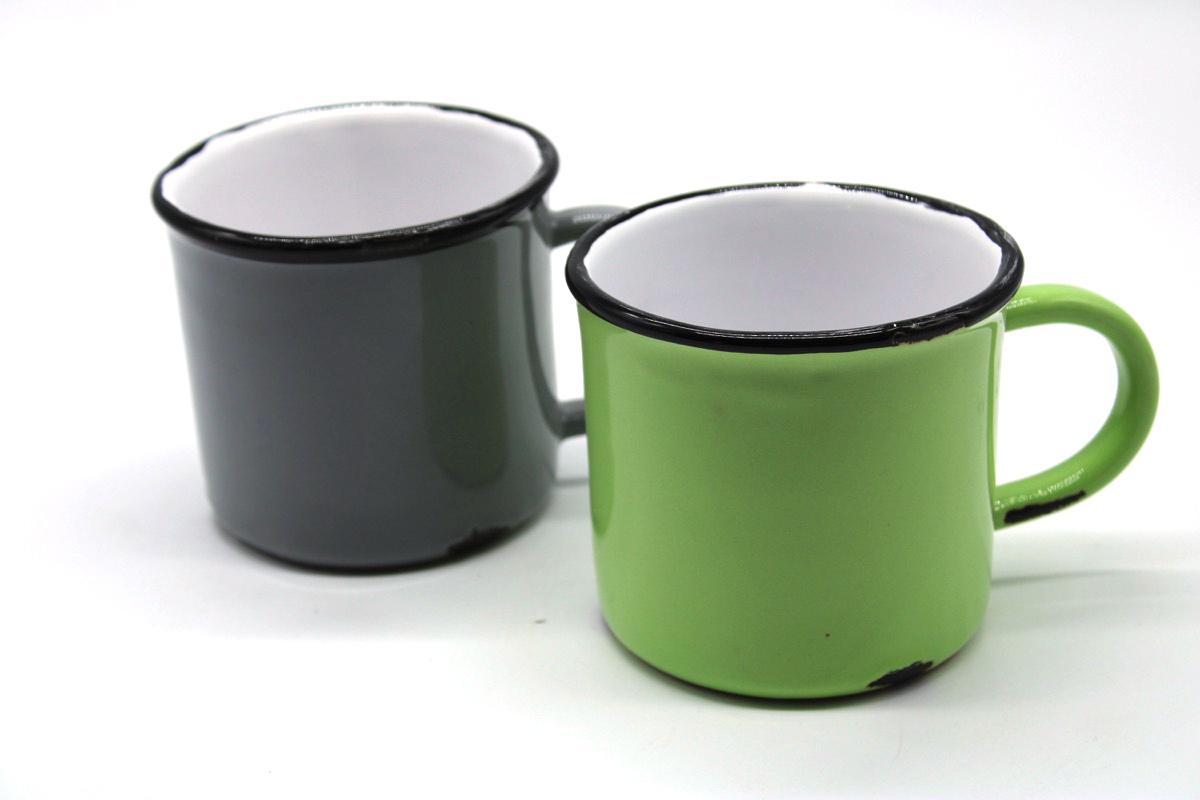 Coppia tazze colazione ceramica smaltata
