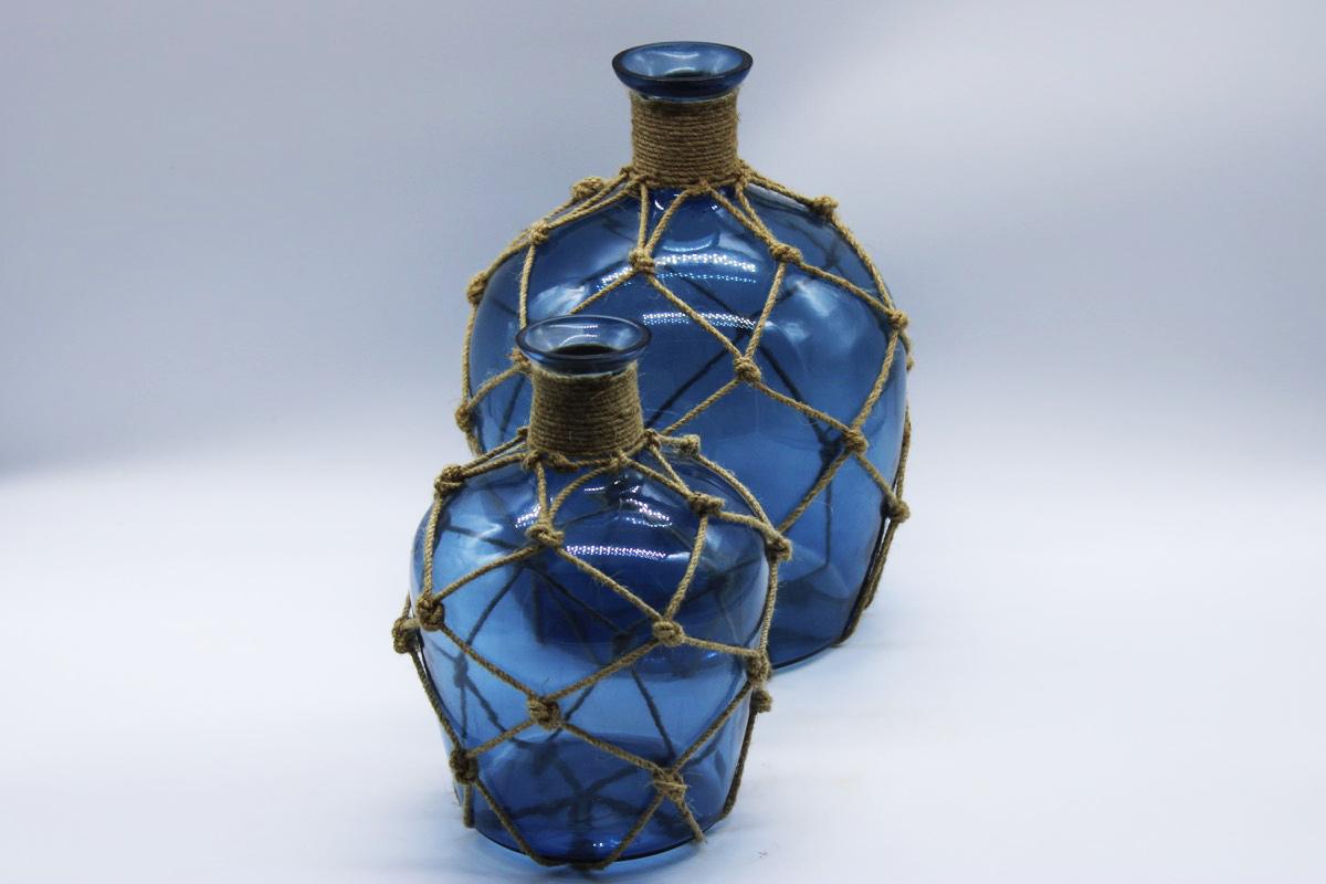 Vaso vetro blu con corda small