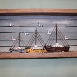 Quadro legno di recupero 3 barche