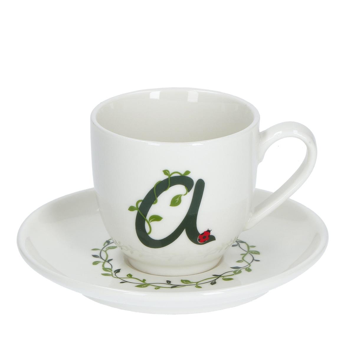 Solotua Tazza caffè con piattino lettera A