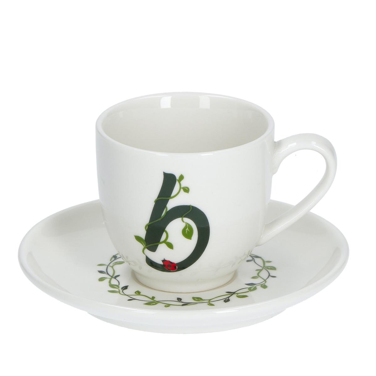 Solotua Tazza caffè con piattino lettera B