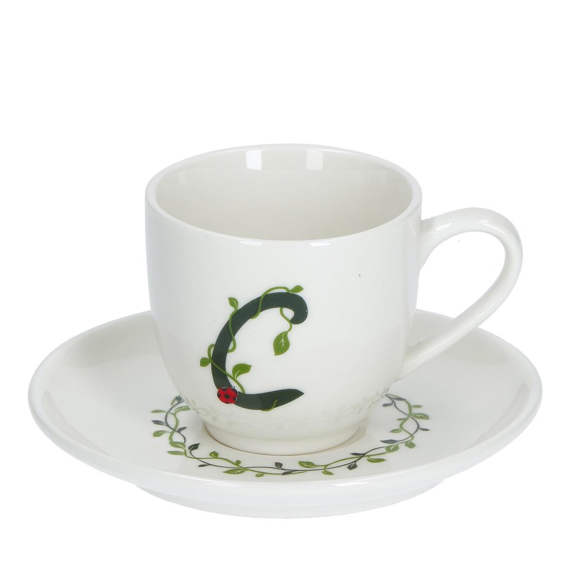 Solotua Tazza caffè con piattino lettera C
