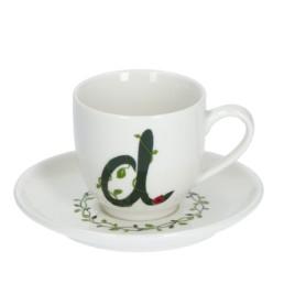 Solotua Tazza caffè con piattino lettera D