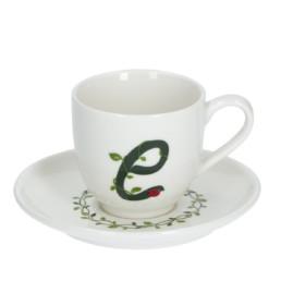 Solotua Tazza caffè con piattino lettera E