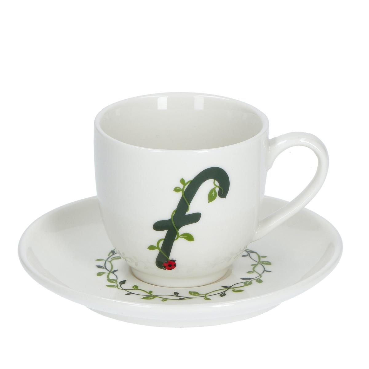 Solotua Tazza caffè con piattino lettera F