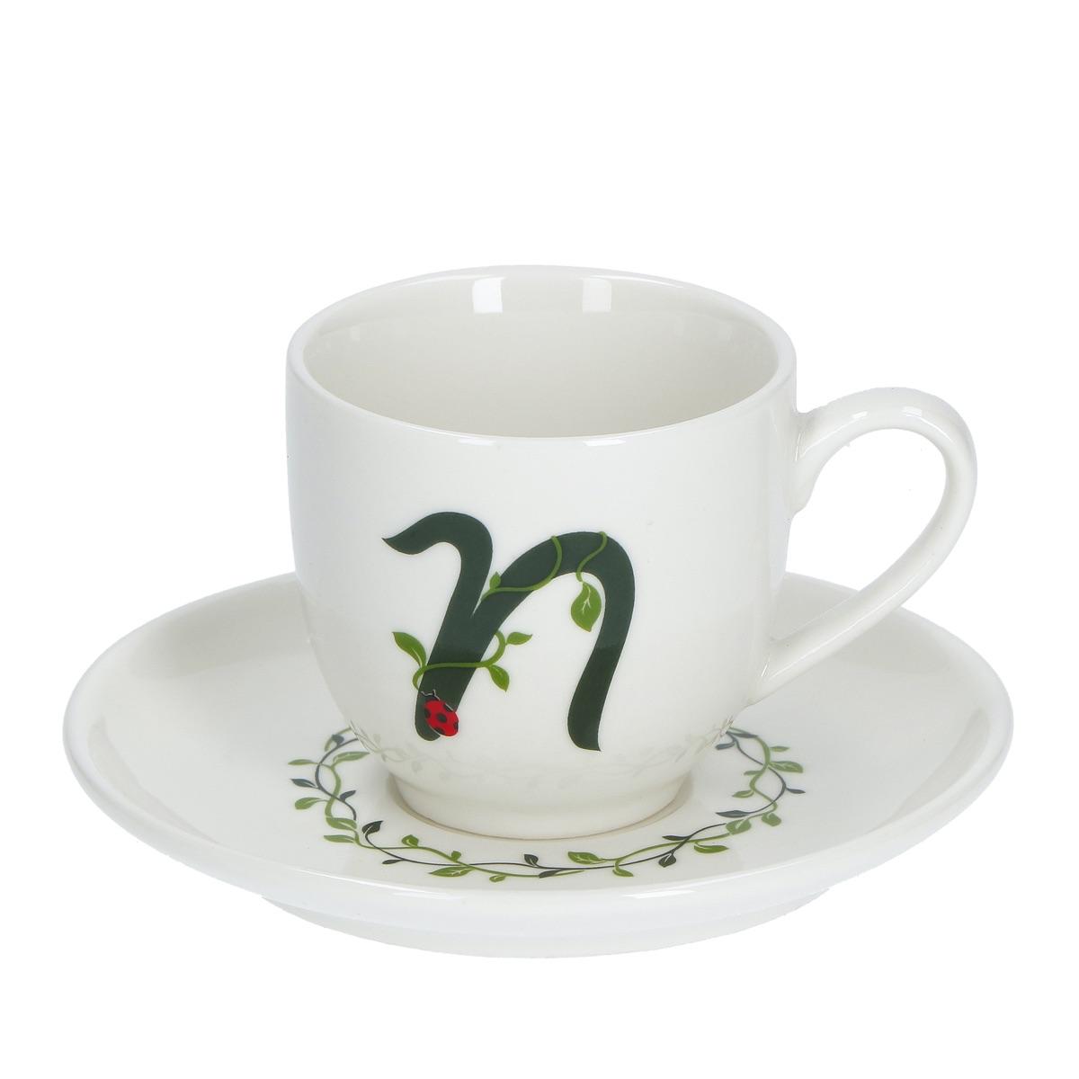 Solotua tazza caffè con piattino lettera N