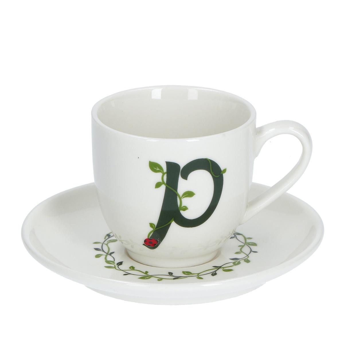 Solotua Tazza caffè con piattino lettera P
