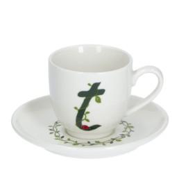 Solotua Tazza caffè con piattino lettera T