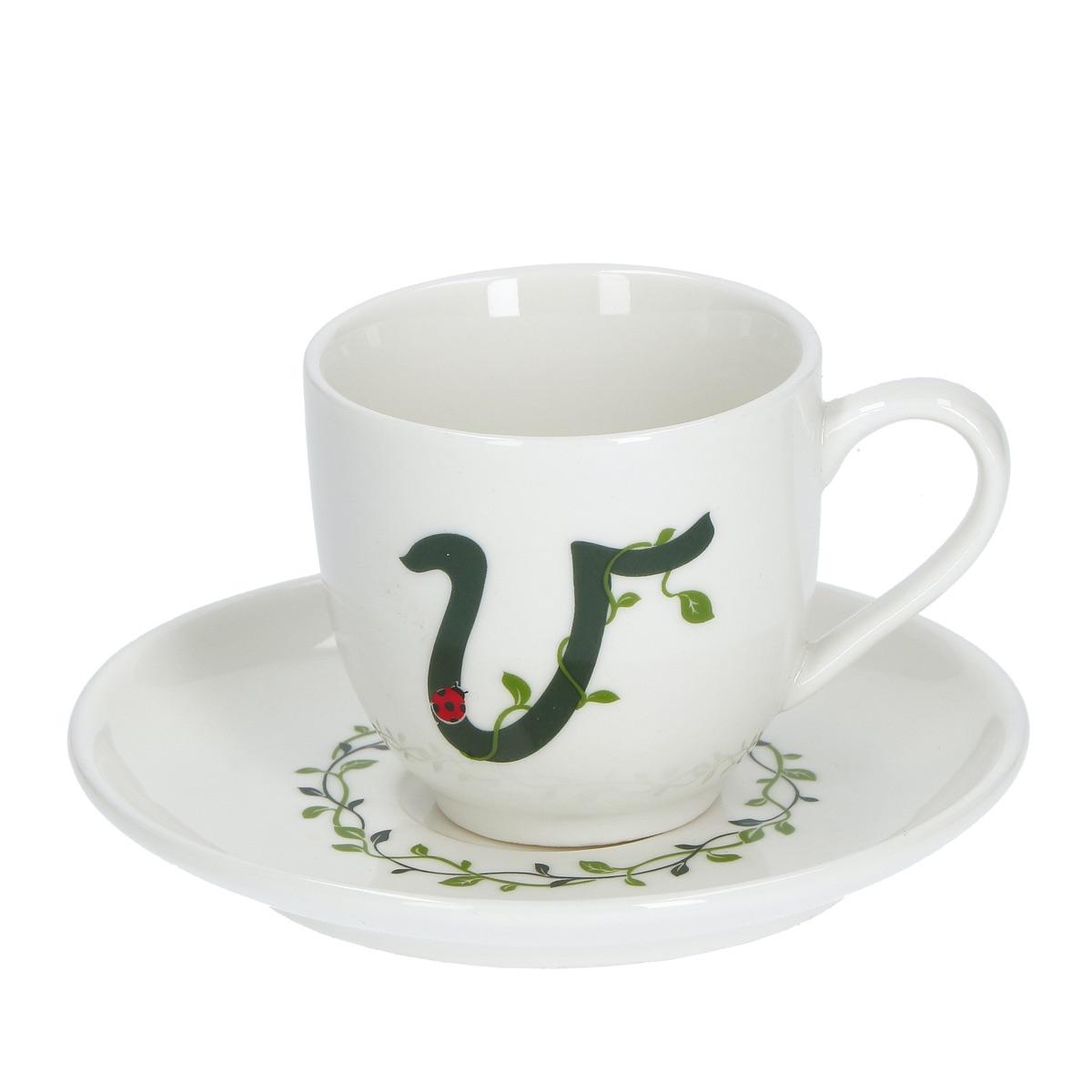 Tazza caffè con piattino lettera V Solotua