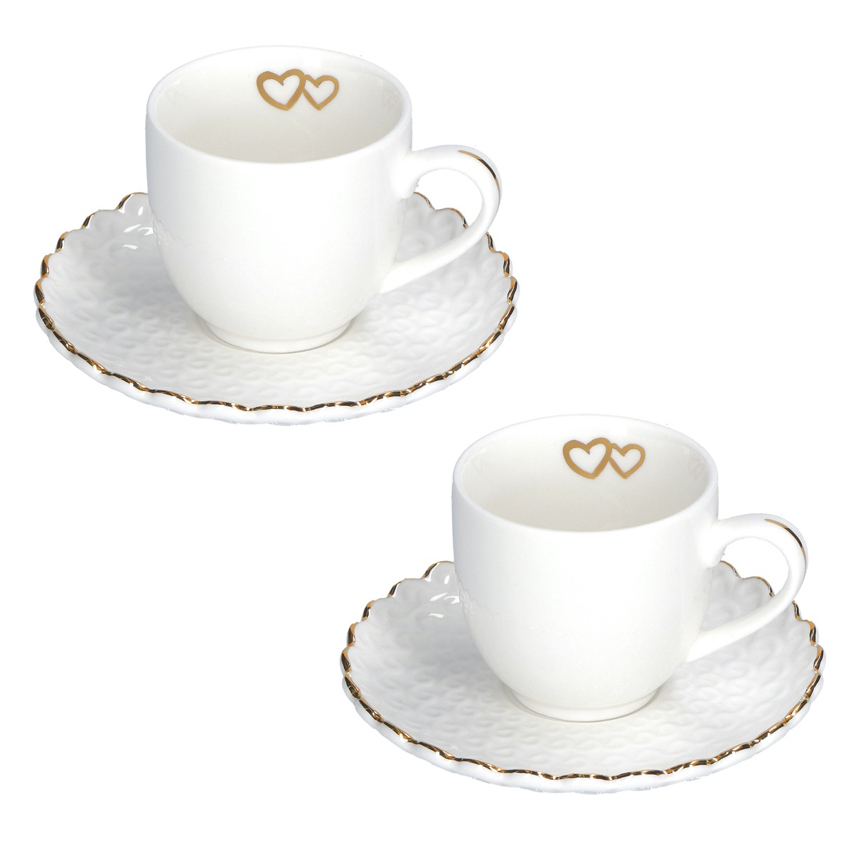Momenti oro Set 2 tazze caffè con piattino