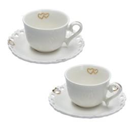 Valentino oro - Set 2 tazze caffè con piattino