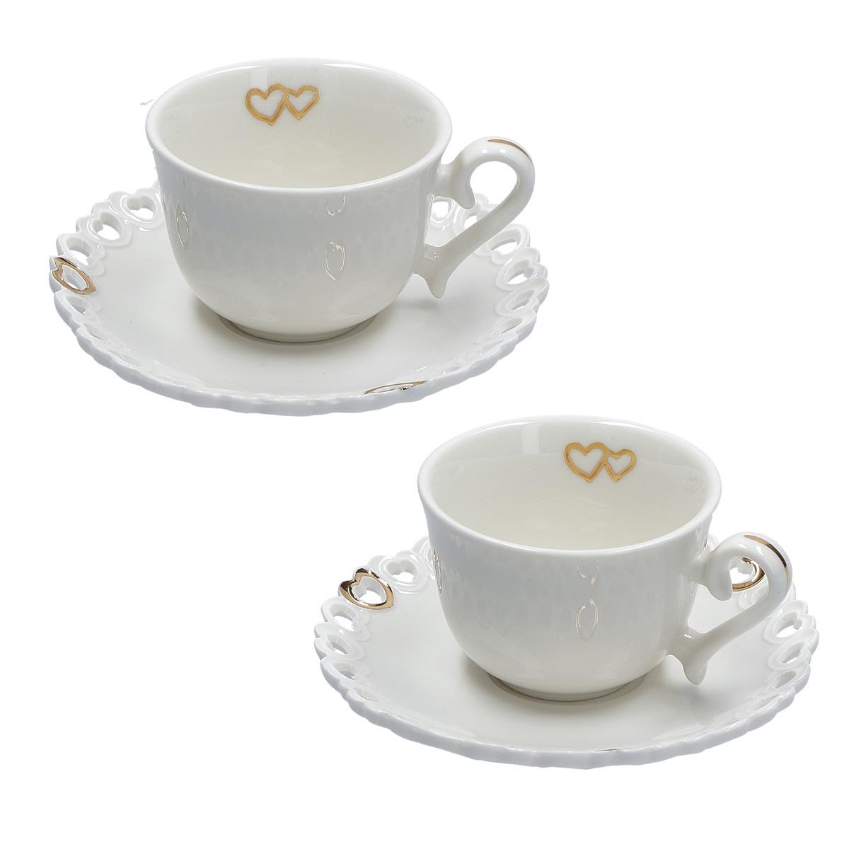 Set 2 tazze caffè con piattino Valentino Oro