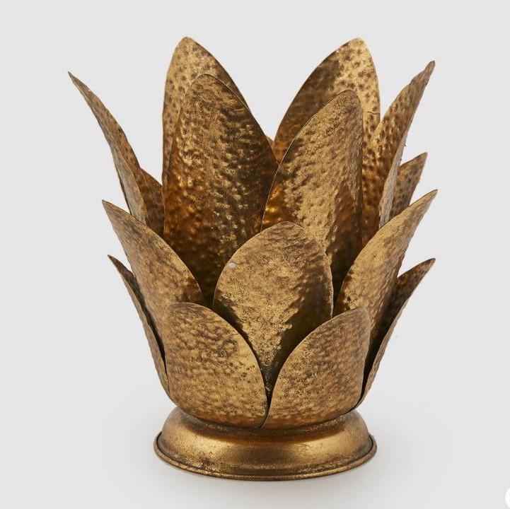 Portacandela foglie Large dorata