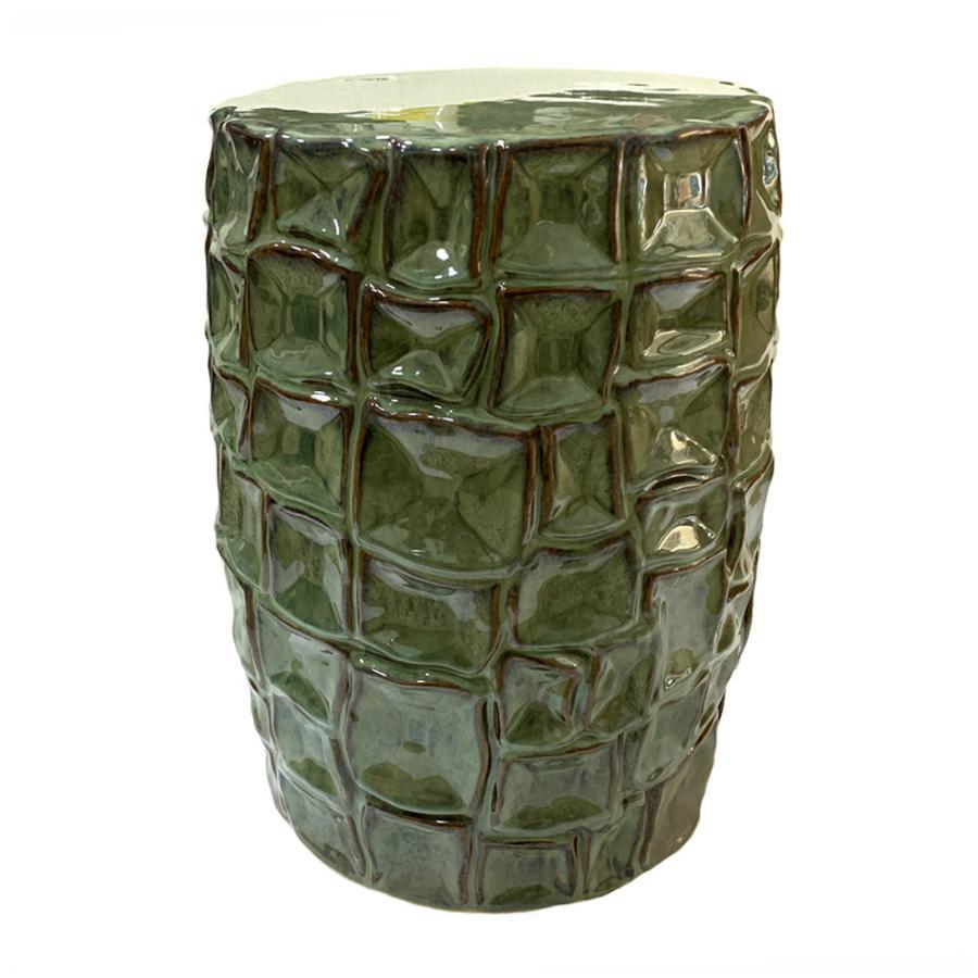 Sgabello Tamburello in ceramica smaltata verde