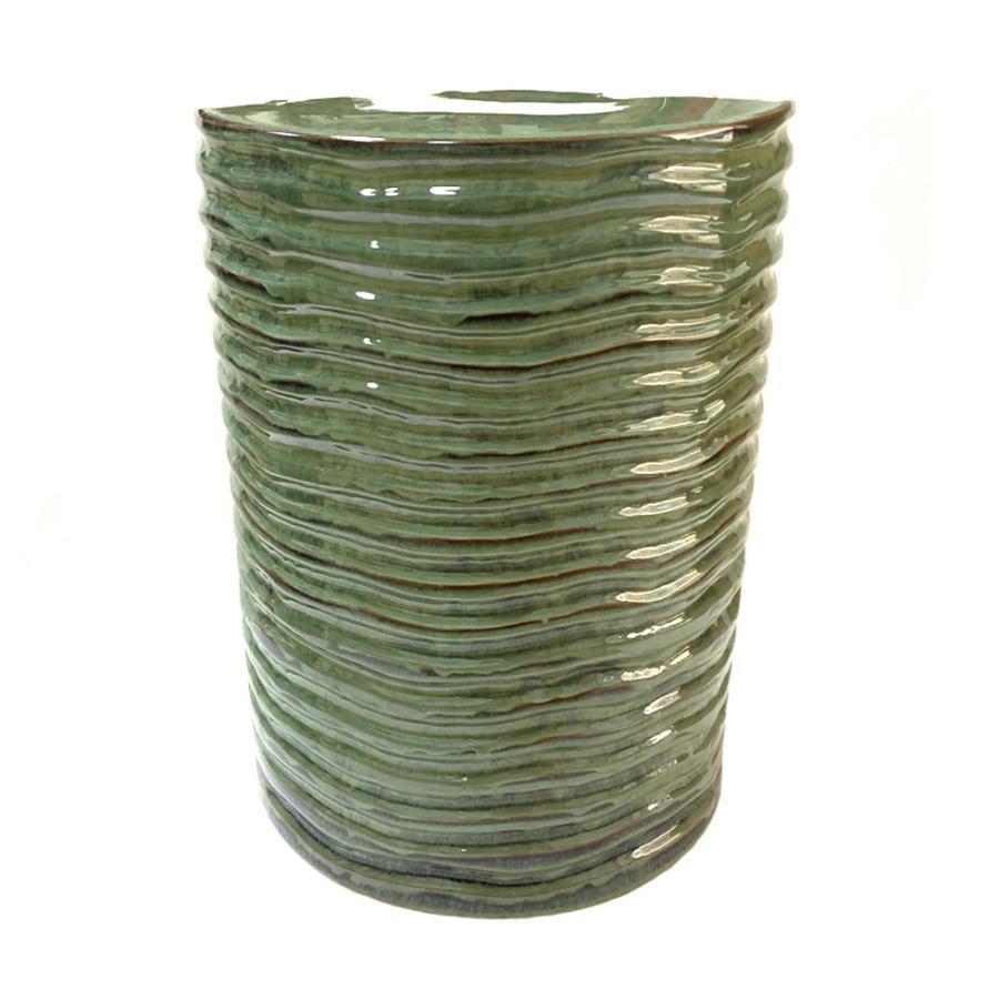 "Sbagello ""Tamburello"" in ceramica smaltata colore verde"