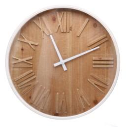 Orologio in metallo con quadrante in legno