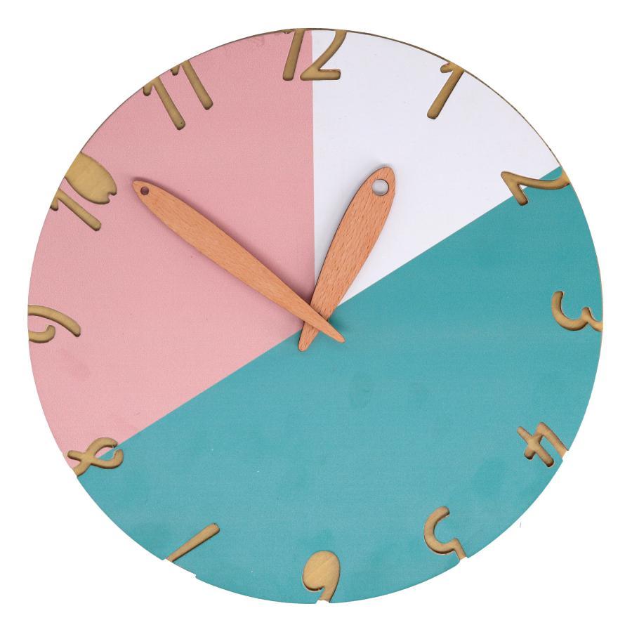 Orologio in legno azzurro/rosa/bianco tondo