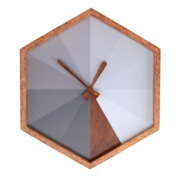 Orologio esagonale grigio in legno