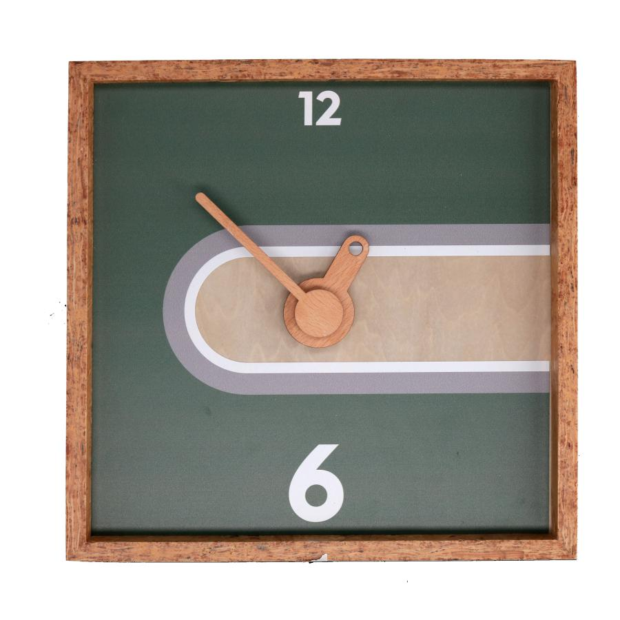 Orologio quadrato cornice in legno naturale