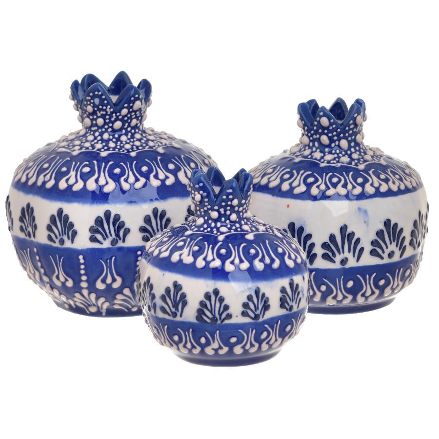 Set 3 pezzi vasi/melograno in ceramica smaltata
