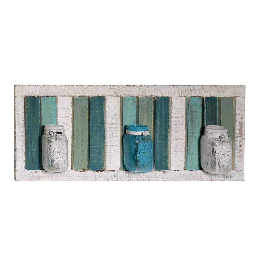 Portafiori in legno con 3 vasetti in vetro
