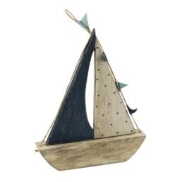 Barca legno bianca e blu