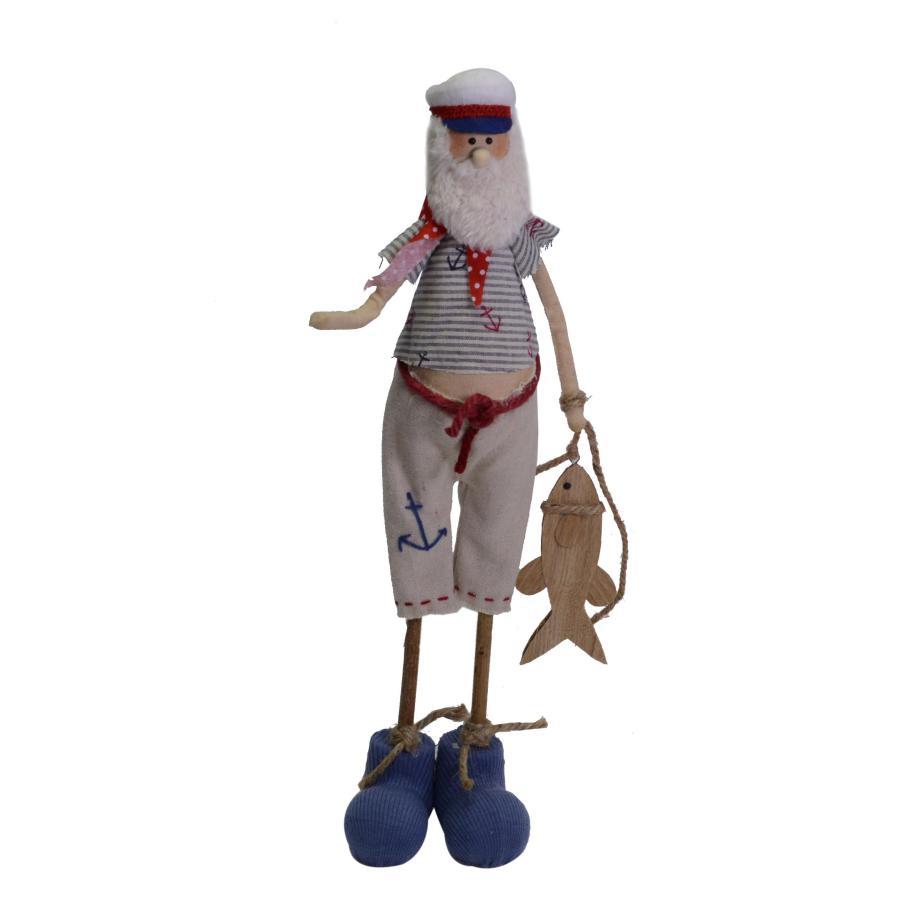 Figura decorativa marinaio in legno e tessuto