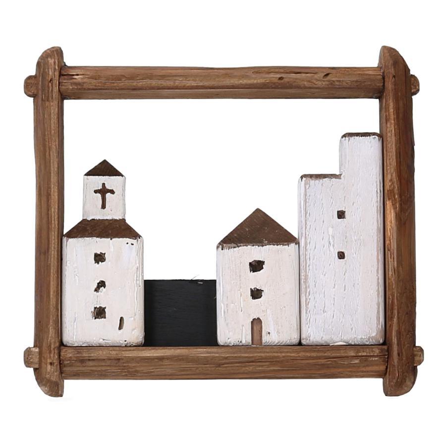 Quadro in legno con casette bianche