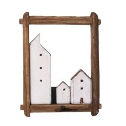 Quadro cornice in legno casette bianche