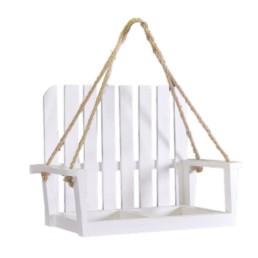 Portafiori a dondolo in legno bianco