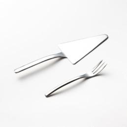 Pala dolce con 12 forchettine in acciaio lucido