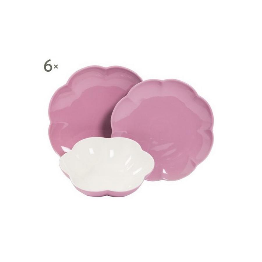 Villadeifiori - Servizio 18 pz colore lilla in porcellana