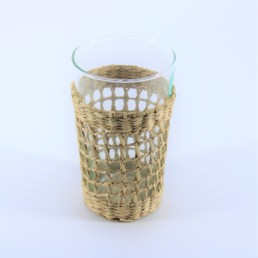 Bicchiere bibita con supporto in midollino