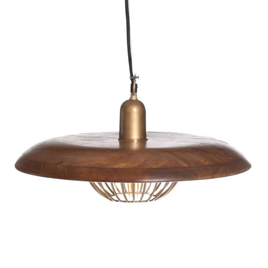 Lampada da soffitto in legno e ferro color oro