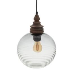 Lampadario in vetro e legno