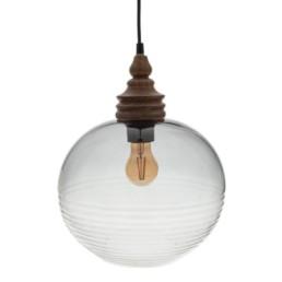 Lampada da soffitto vetro e legno