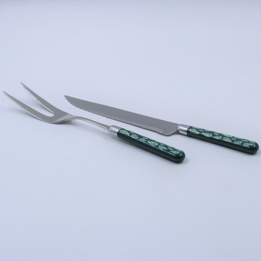 Coppia posate arrosto linea mare colore verde