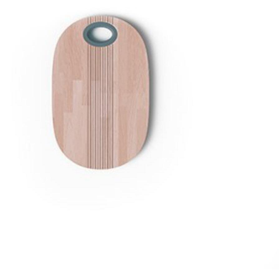 Pangea - Tagliere in legno con pomello celeste