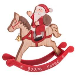 Cavallo a dondolo in legno rosso