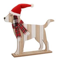 Cane in legno con cappello rosso
